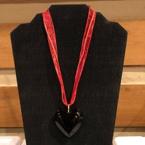 "Jewelry - 1.75"" Black Glass Puffy Heart String Necklace"